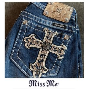 Miss Me Cross Pocket Mid Rise Jeans